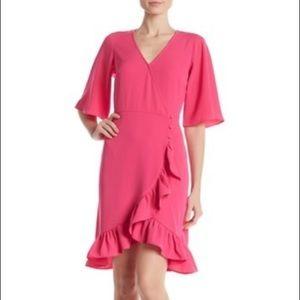 New MSK Short Sleeve Surplice V-Neck Dress L